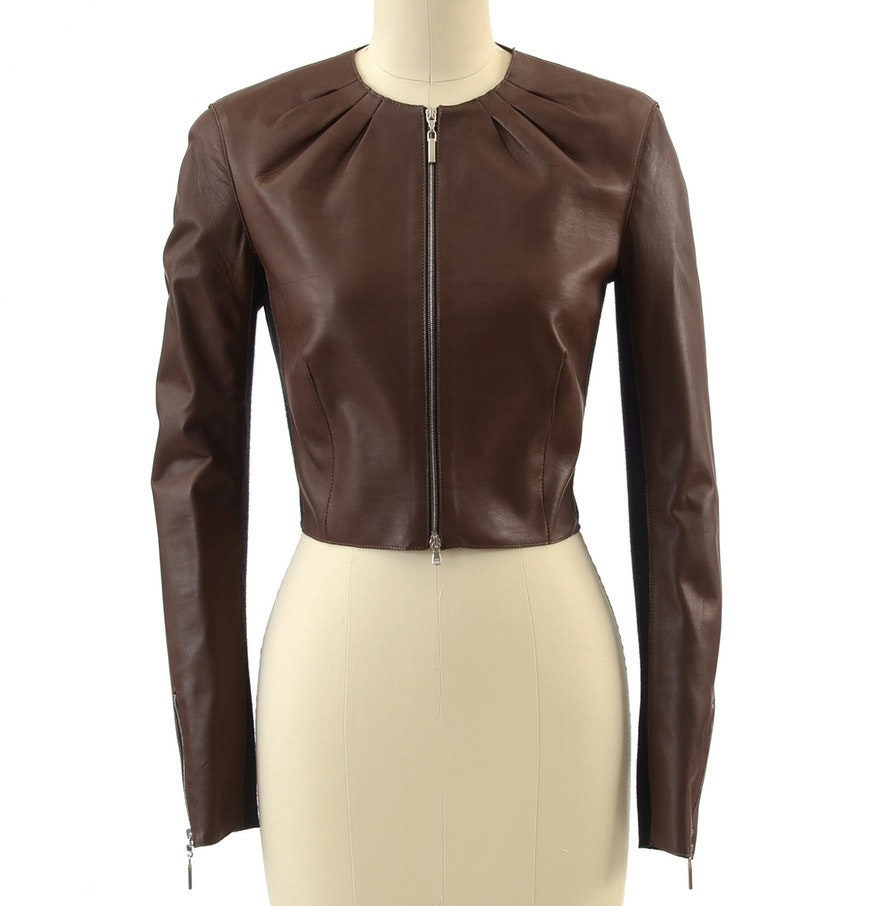 Rivamonti Cocoa Brown Lambskin Leather and Charcoal Wool Jersey Knit Zipper Front Bolero Jacket