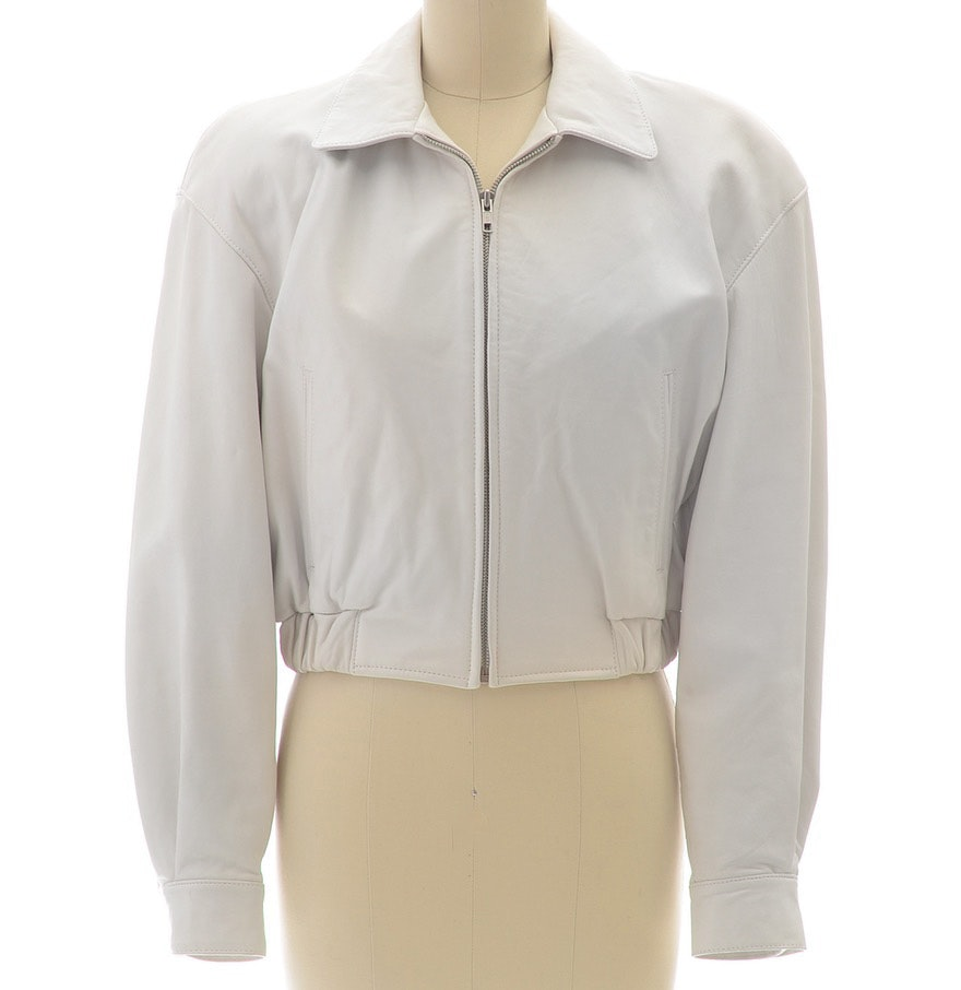 Michael Hoban For North Beach Leather Ivory Leather Zipper Front Jacket