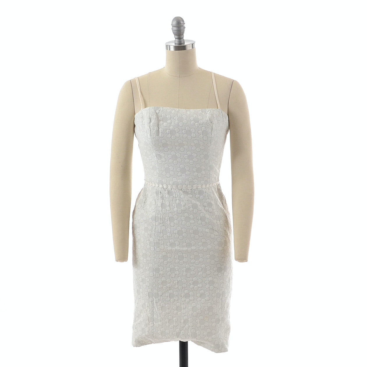 Luca Luca White Embossed Daisy Print Sleeveless Dress with Ribbon Lace