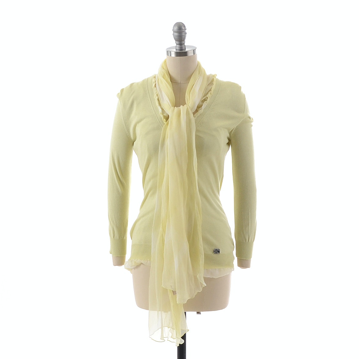 Burberry of London Dyed Silk Chiffon and Cashmere V-Neck Sweater with Matching Scarf in Pale Yellow