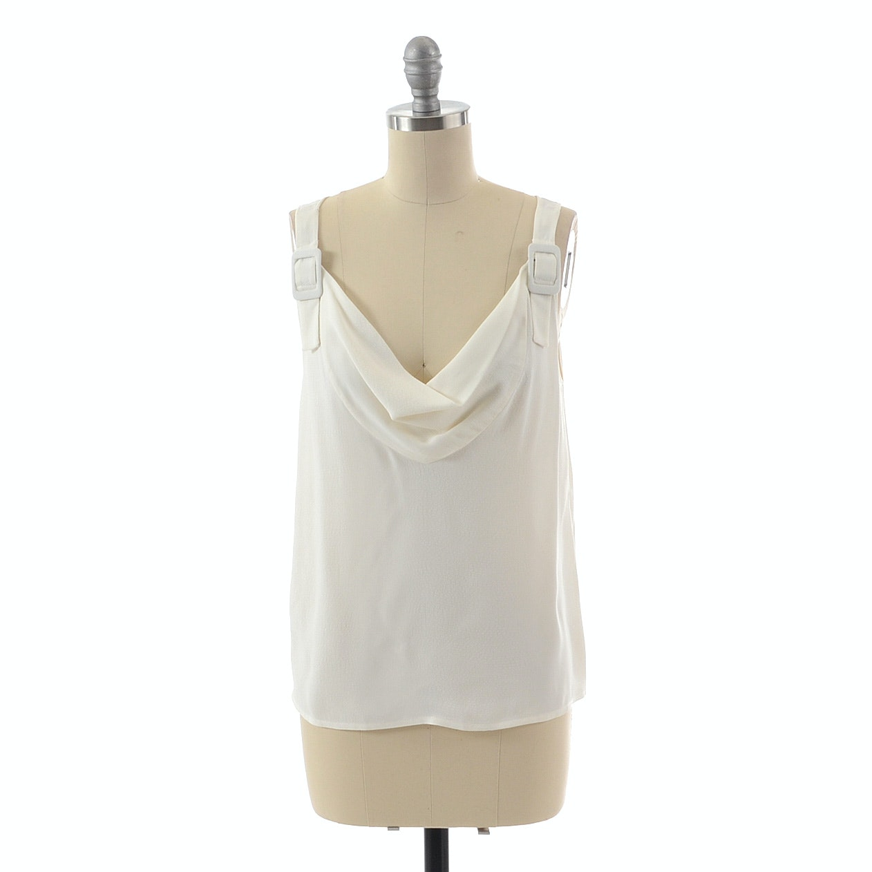 Luca Luca Sleeveless Blouse in White with Buckled Straps From The 2011 Cruise Collection