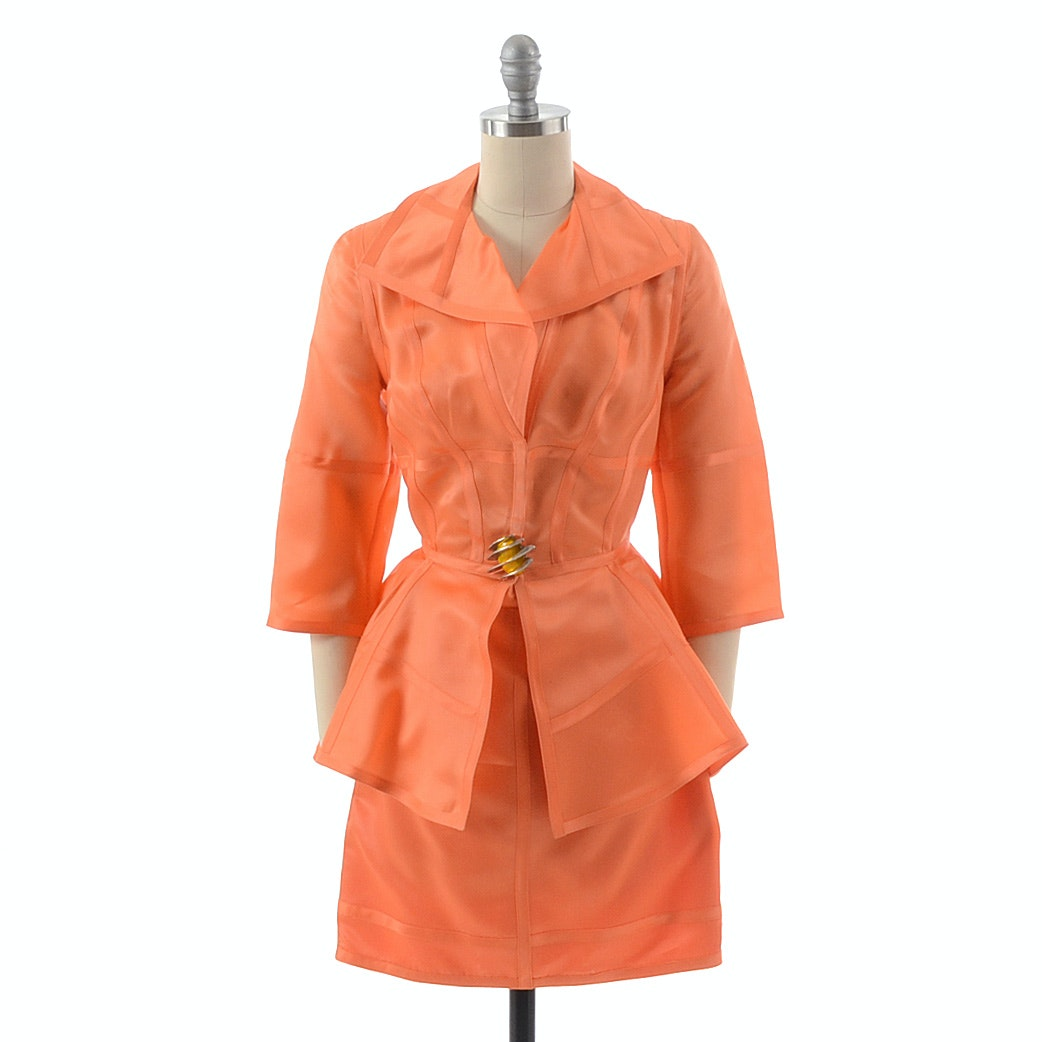 Thierry Mugler of Paris Tailored Silk Jacket and Skirt Set in Persimmon