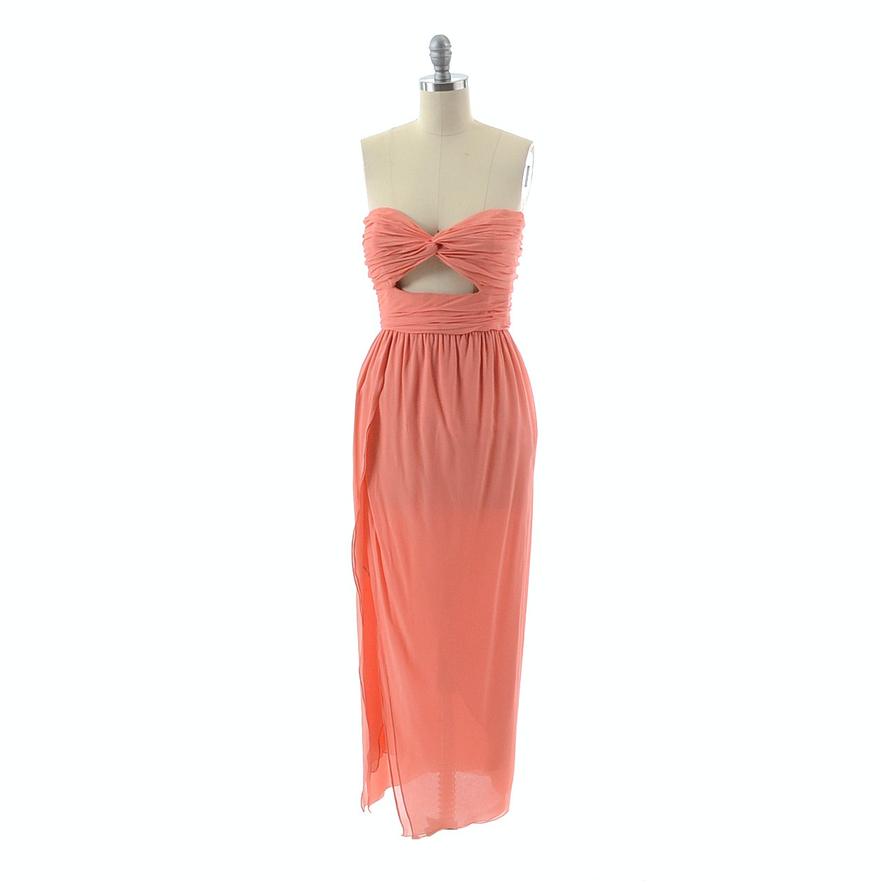 Carolyne Roehm Strapless Silk Chiffon Ruched Peep Front Evening Dress in Coral