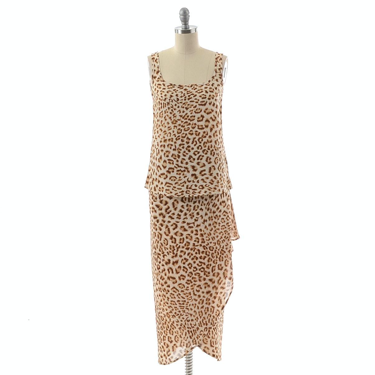 Escada by Margaretha Ley Cheetah Silk Print Sleeveless Blouse and Skirt Ensemble