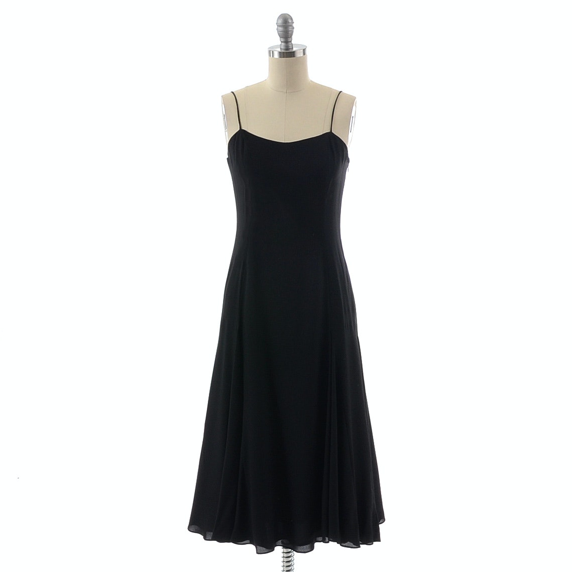 Sleeveless Black Silk Dress by Jade with Flared Hemline