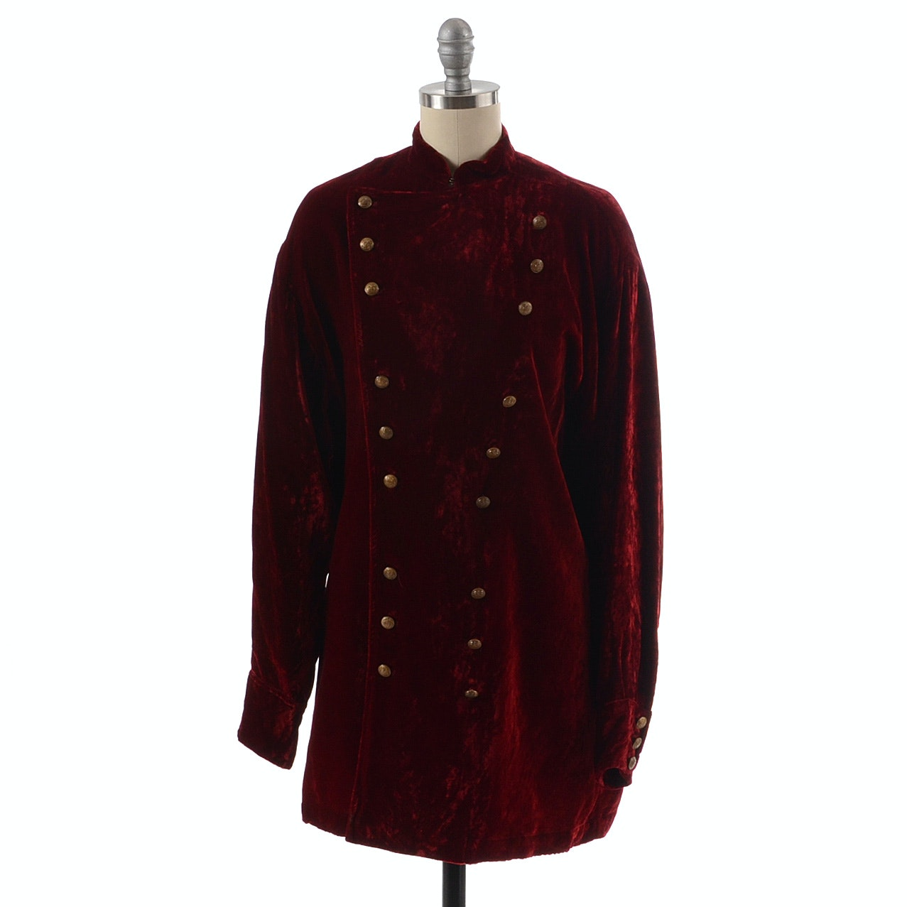 Ralph Lauren Country Red Velvet Military Style Jacket with Eagle Shield Brasstone Buttons