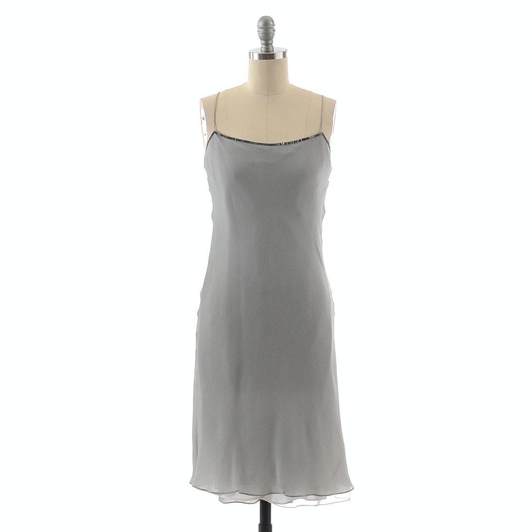 Donna Karan Sleeveless Slip Dress in Pearl Grey Silk Embellished with Gun Metal Metallic Bugle Beads