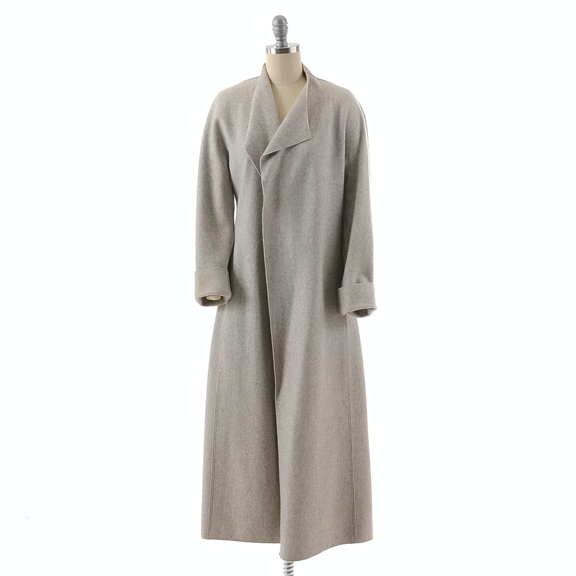 Donna Karan Angora Wool Blend Open Front Coat