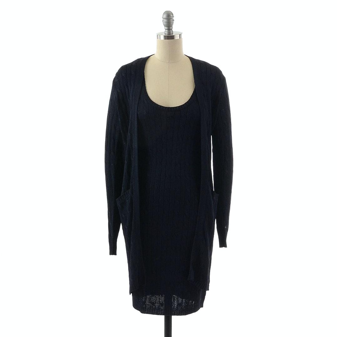 Ralph Lauren Navy Blue Silk Knit Sleeveless Dress and Matching Long Jacket