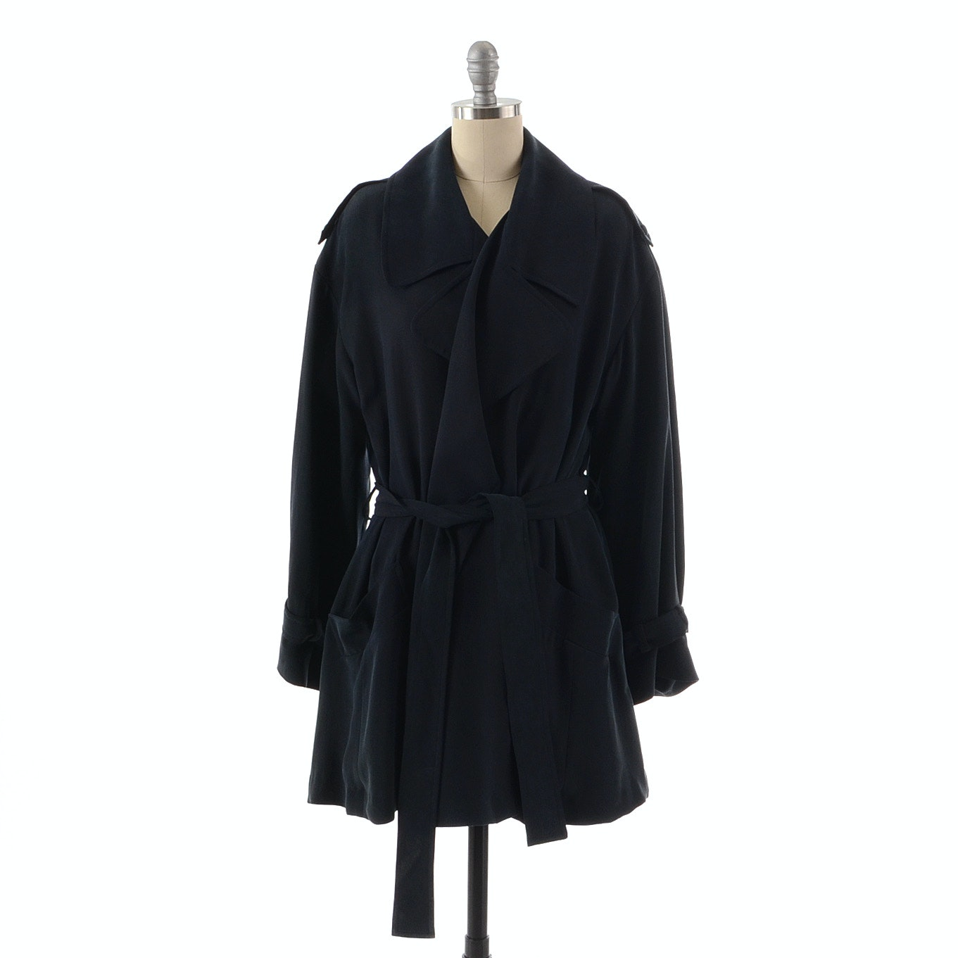 Donna Karan of New York Midnight Blue Silk Jacket with Tie Belt