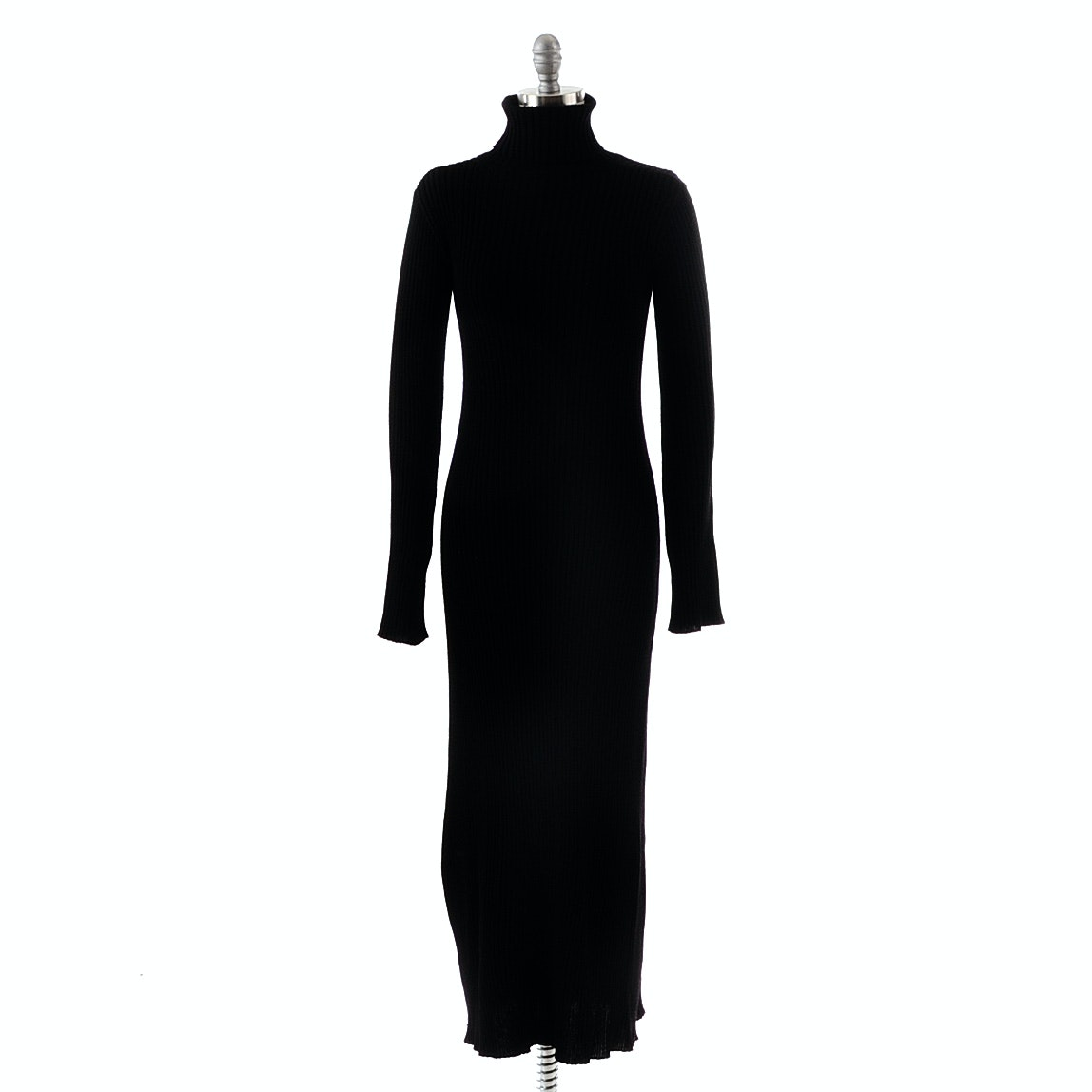 Donna Karan of New York Black Turtleneck Ribbed Wool Dress