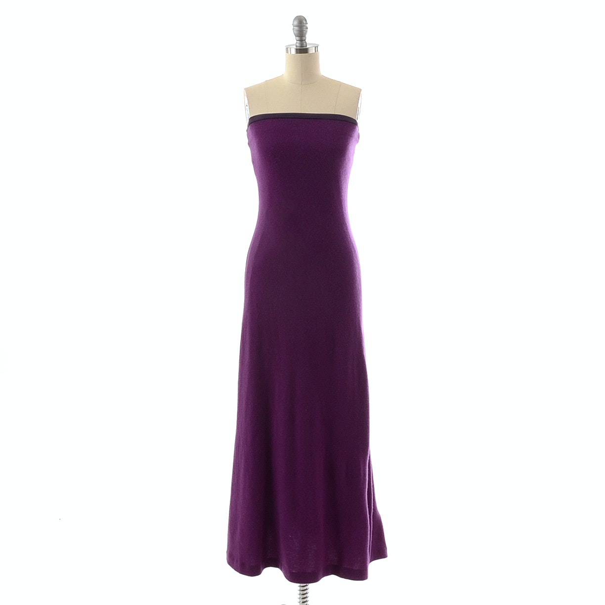 Ralph Lauren Strapless Purple Cashmere Knit Evening Dress