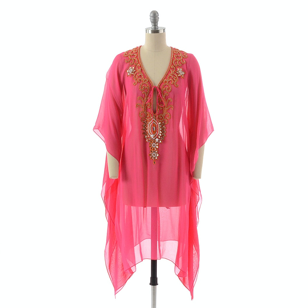 Natural Impressions Rayon Tunic in Fuschia Embellished with Orange Seed Beads, Faux Pearls and Prong Set Crystal Rhinestones