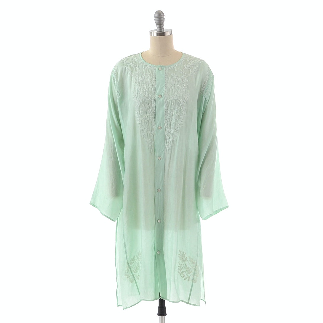 Jennifer Miller Mint Green Silk Button Front Tunic with Hand Embroidery in a Foliate Motif