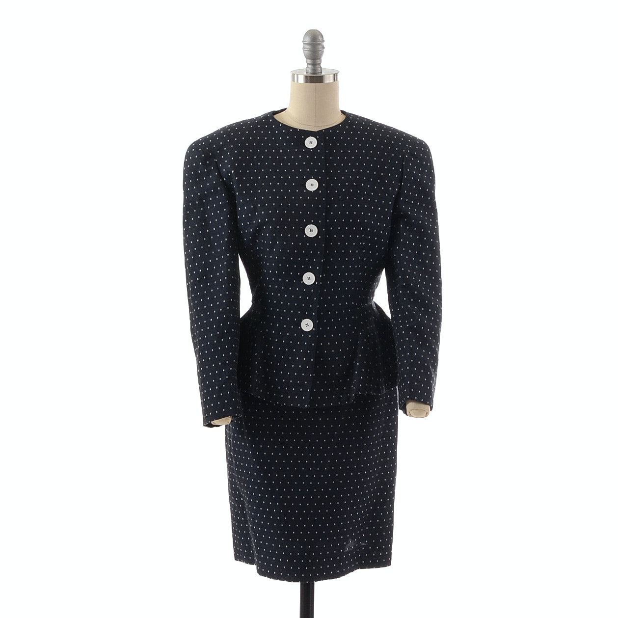 1980s Louis Feraud Navy Blue and White Suit with Peplum Blazer and Pencil Skirt