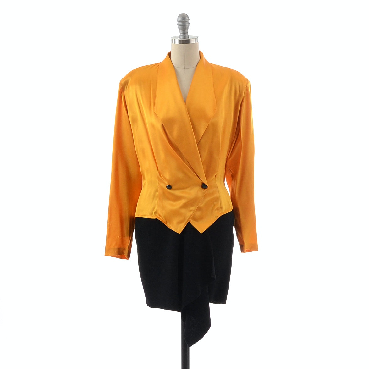 Vintage Christian Dior Silk Blouse in Yellow Saffron Paired with a Donna Karan of New York Black Wool Mini