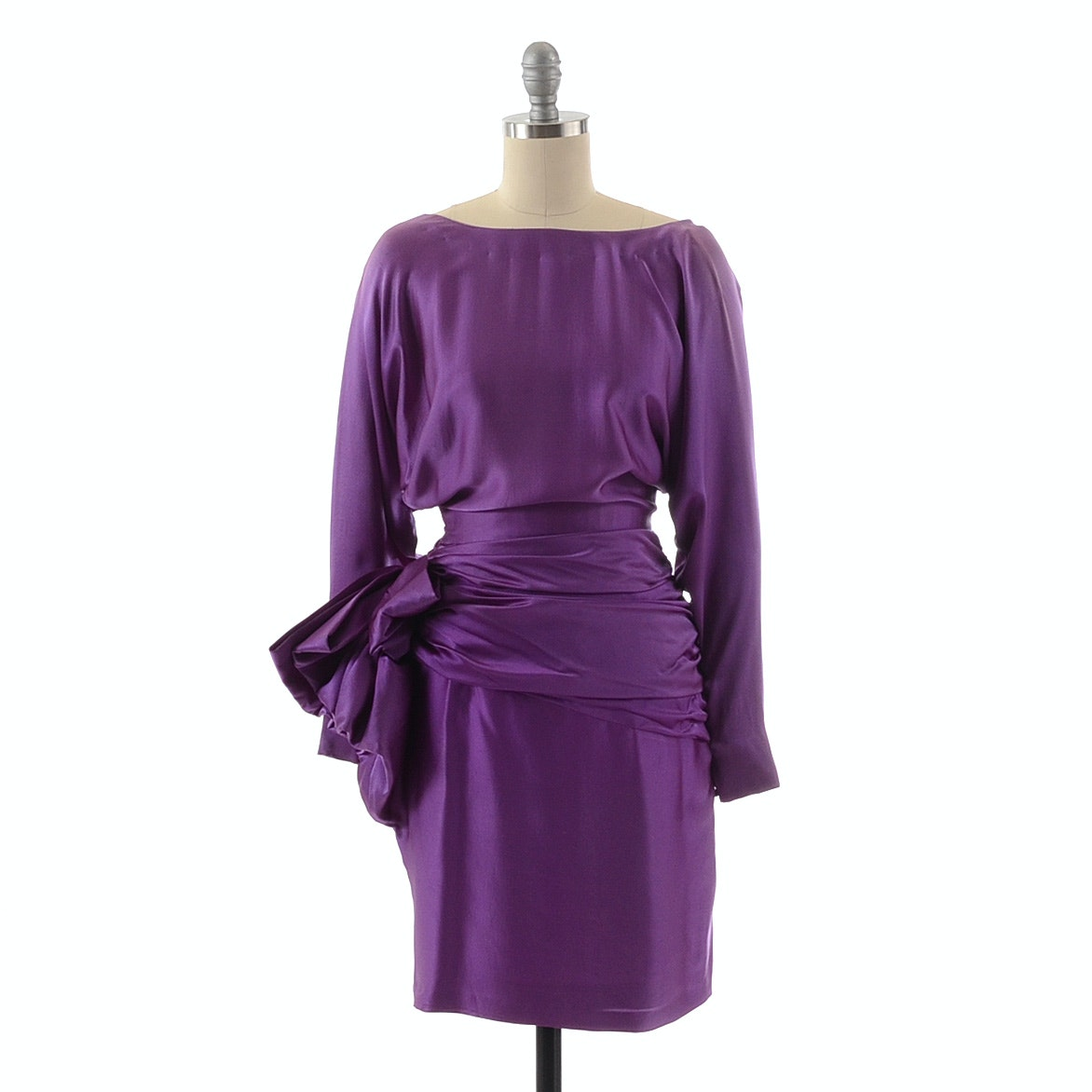 1980s Vicky Tiel of Paris Purple Silk Cocktail Dress with Open Back