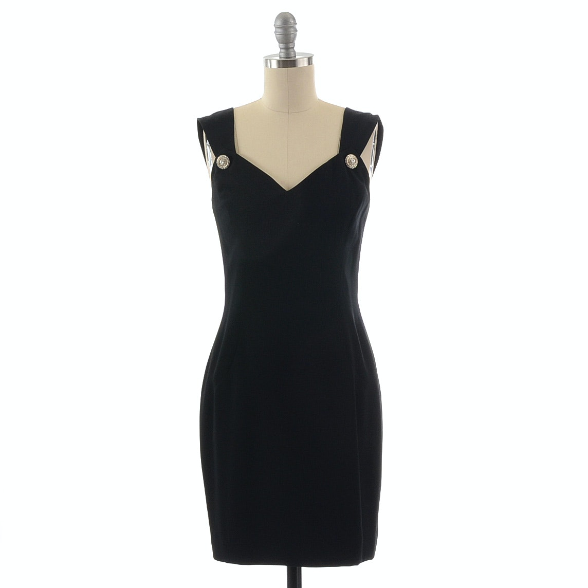 Gillian Black Sleeveless Cocktail Dress Accented with Rhinestone Buttons