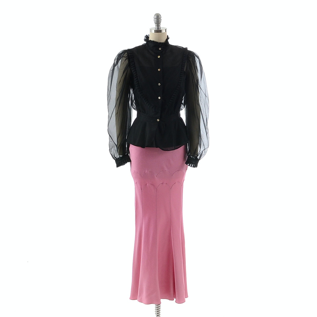 1990s John Galliano of Paris Rose Pink Long Skirt Paired with a Black Silk Ruffled Blouse and Tank