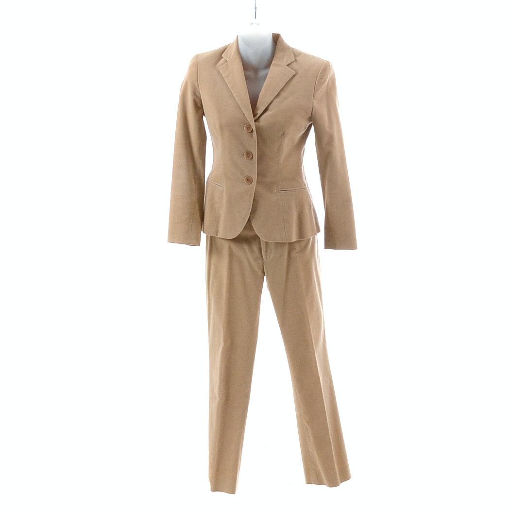 Ralph Lauren Corduroy Button Front Suit in Camel