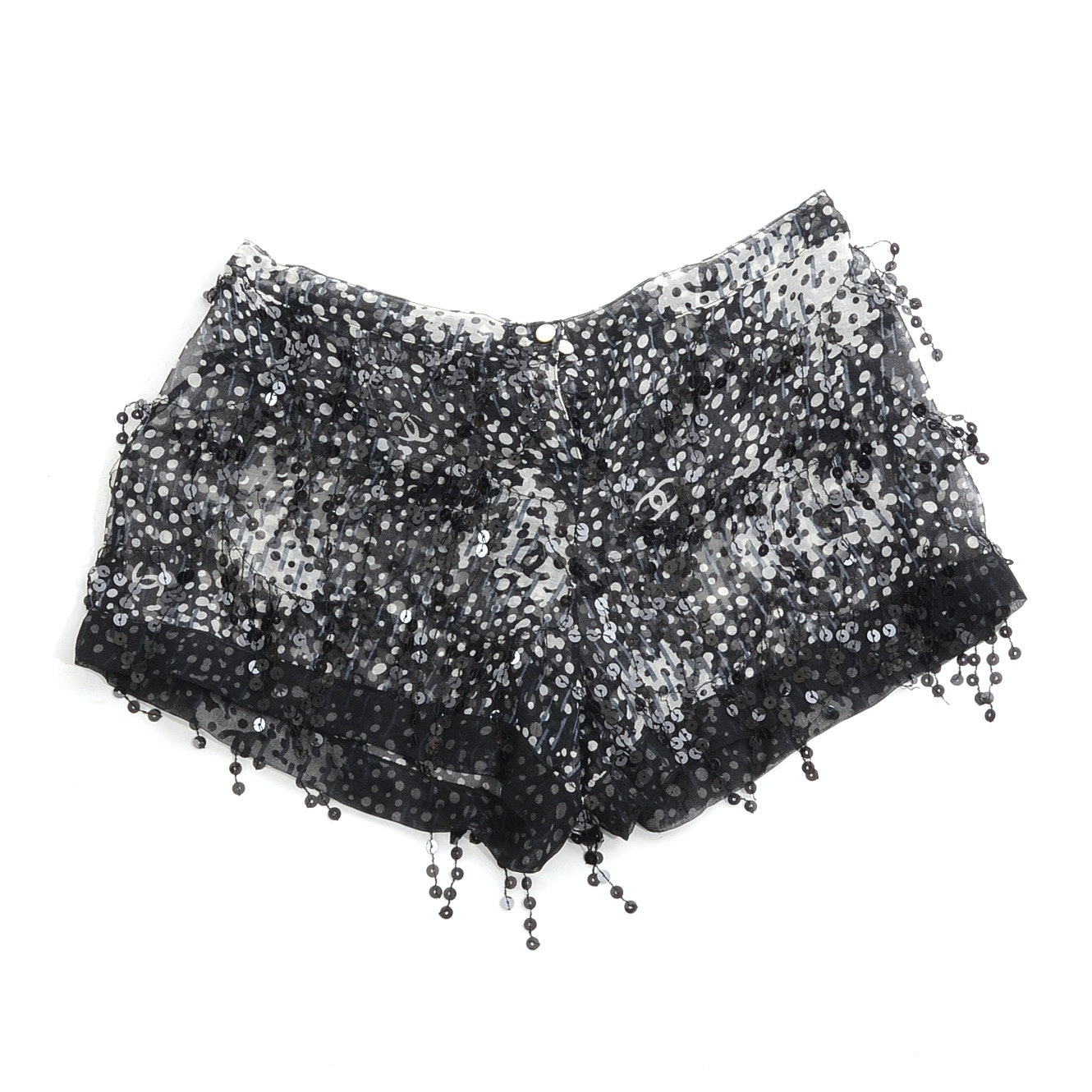 Chanel Boutique Silk Chiffon Mini Shorts with Black Sequined Fringe