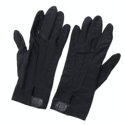 Pair of Black Driving Gloves Trimmed in Black Suede