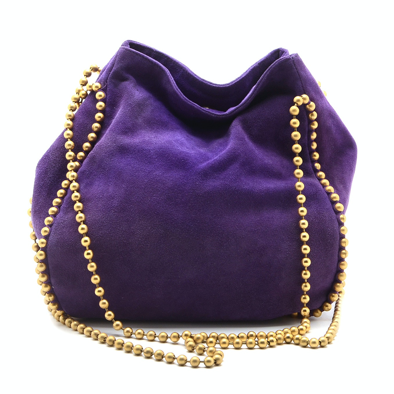 De Vecchi by Hamilton Hodge Purple Suede Hobo Bag with Ball Bead Chain Shoulder Straps