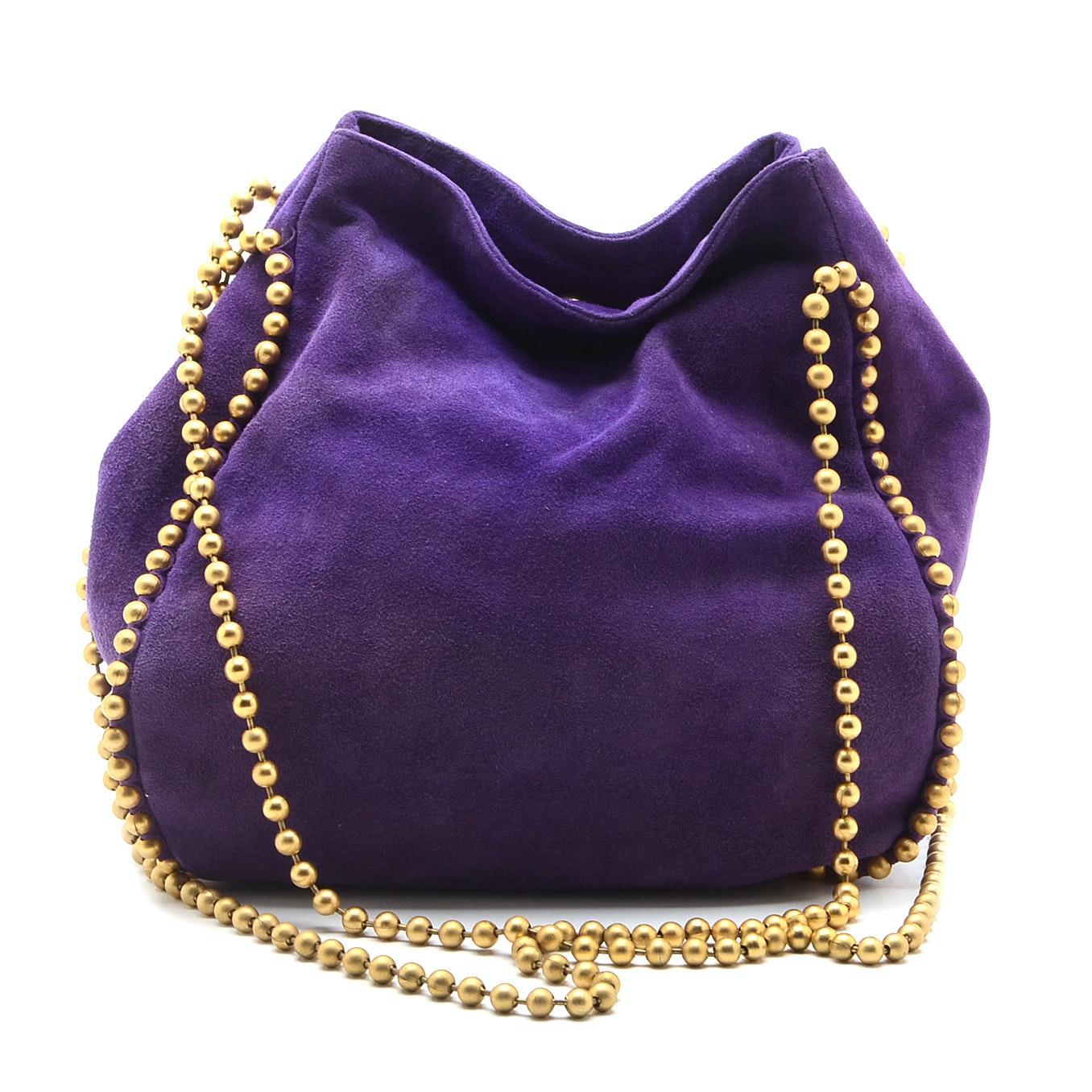 De Vecchi by Hamilton Hodge Purple Suede Hobo Bag with Ball Bead ...