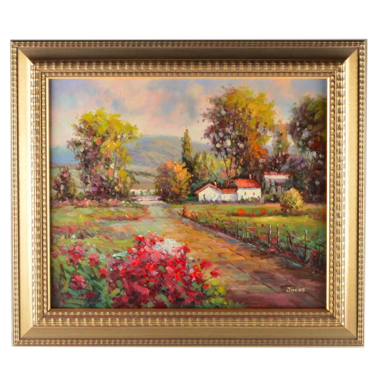 "Jacob Oil Painting on Canvas ""Villa in Spring"""