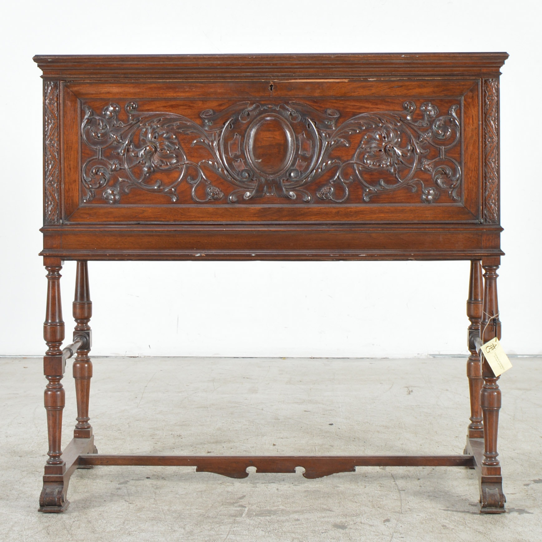 Victorian Gothic Revival Carved Walnut Writing Desk
