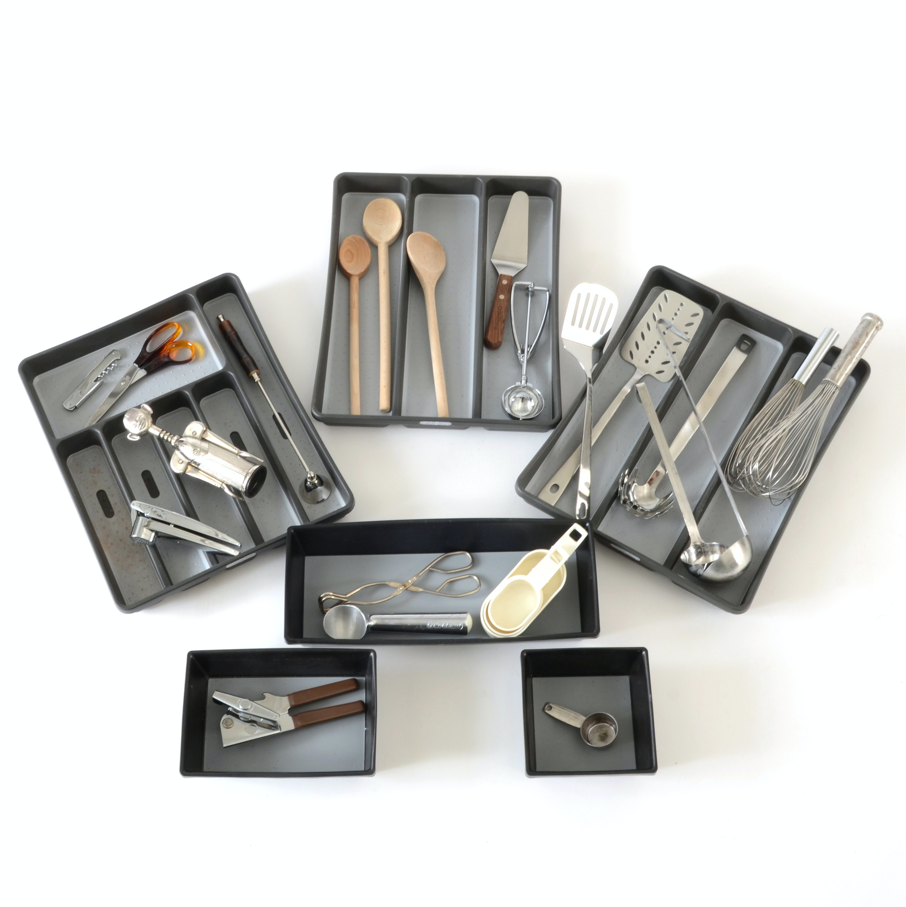 Collection of Kitchen Utensils and Drawer Organizers