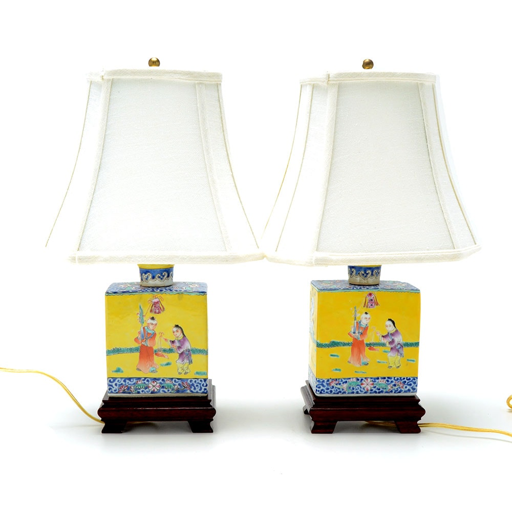 Pair of Chinese Hand Painted Famille Rose Porcelain Figural Lamps