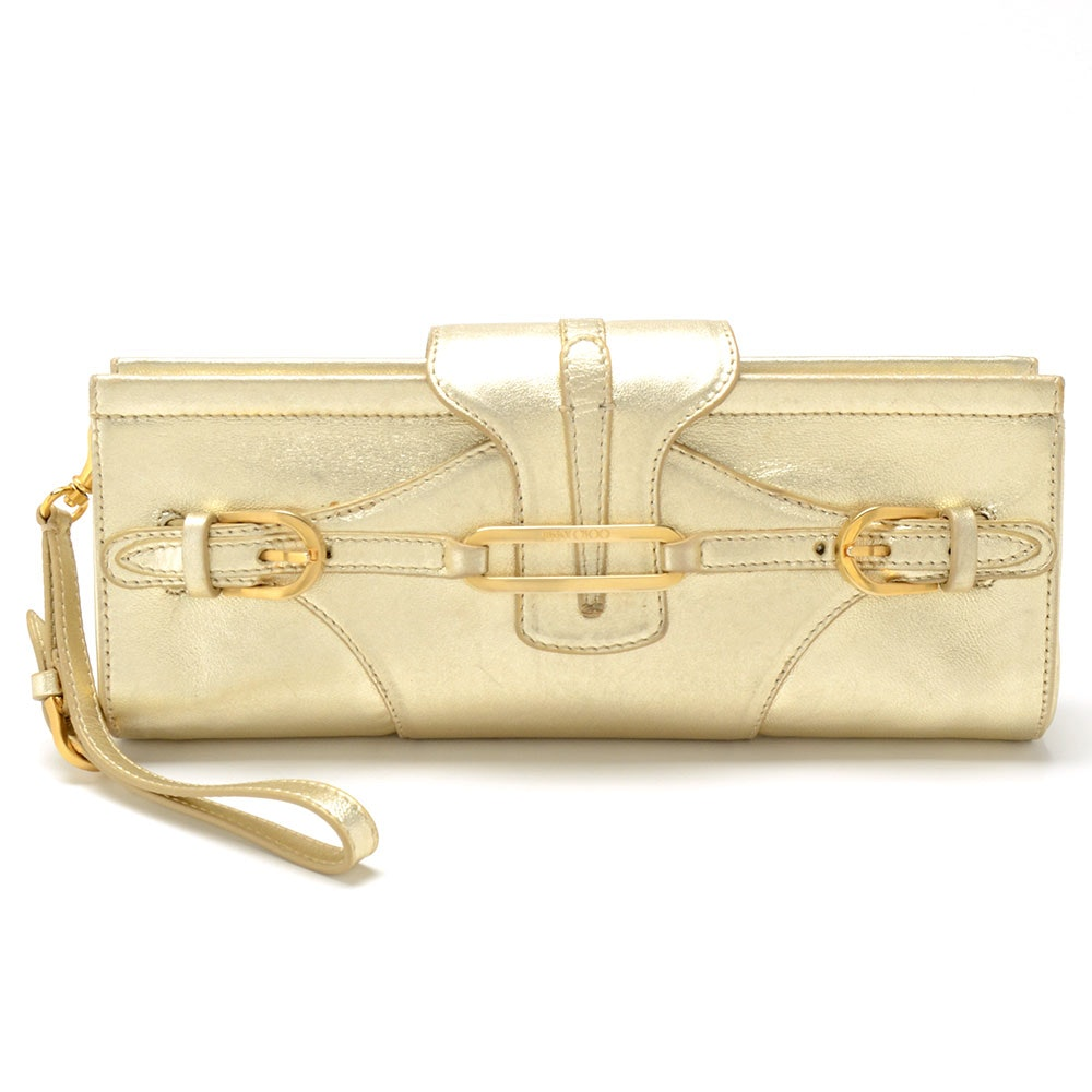 Jimmy Choo Gold Tone Metallic Leather Clutch