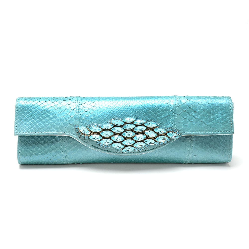 Light Blue Snakeskin Carlos Falchi Clutch with Swarovski Crystals