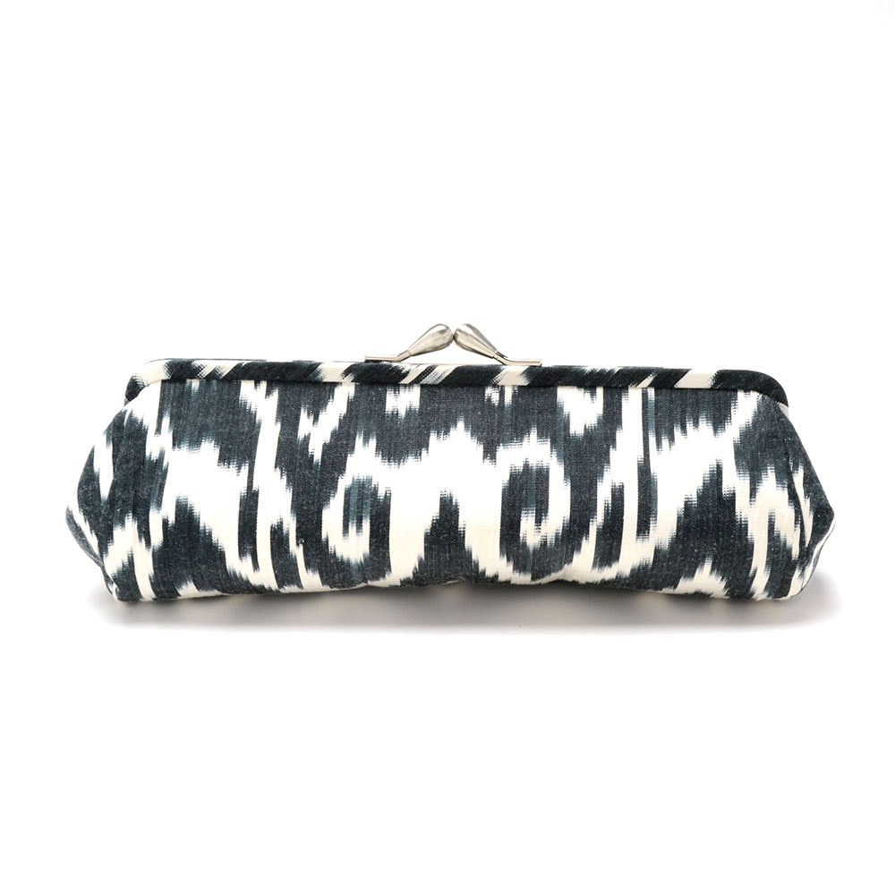 Black and White Batik Print Cloth Clutch