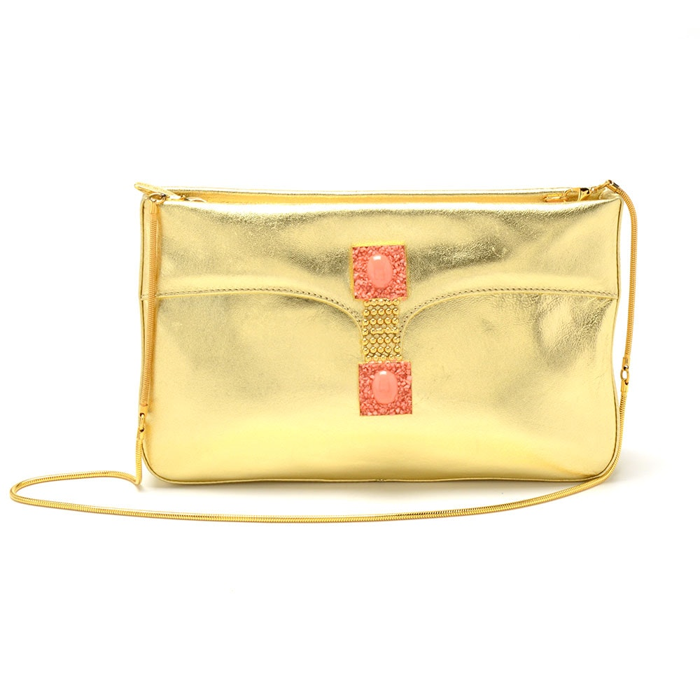 Sacco 1823 Gold Metallic Leather Clutch