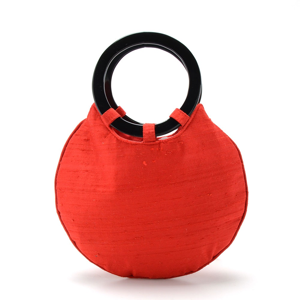 Grace Chuang of New York Red Raw Silk Handbag