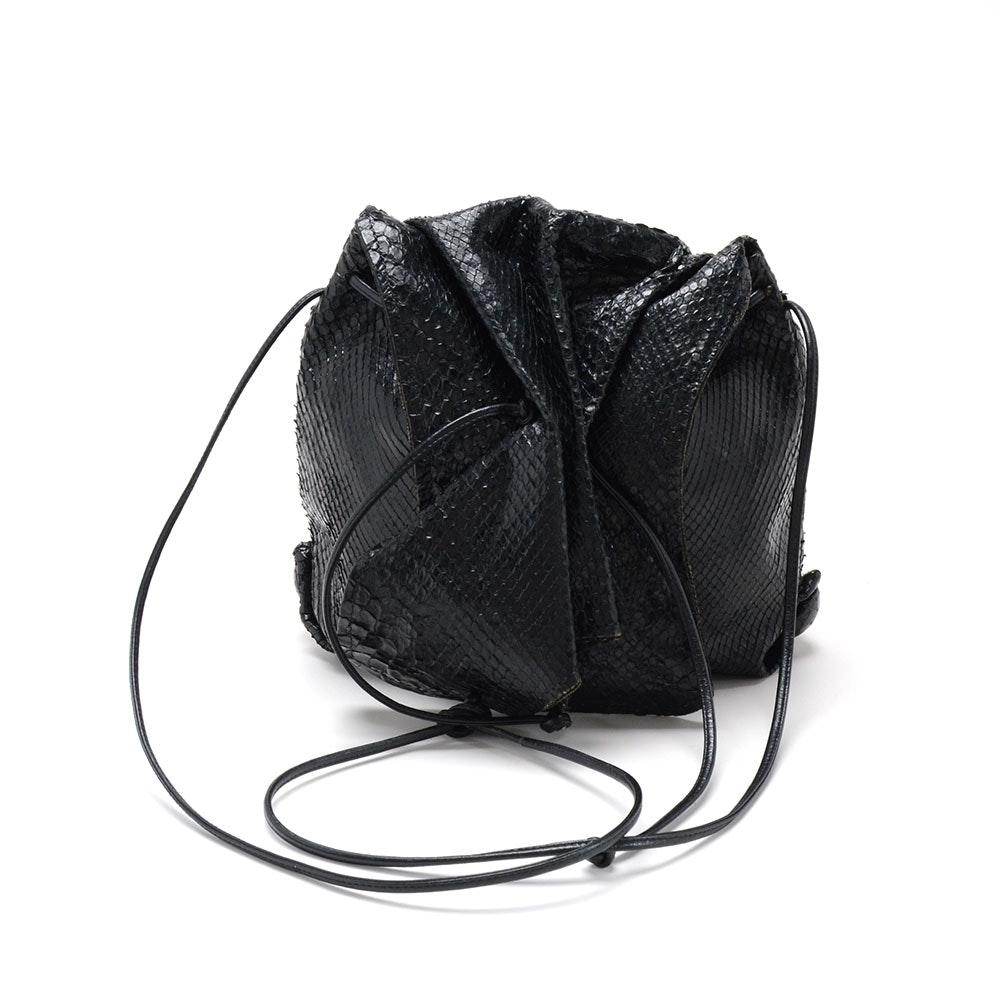 Carlos Falchi Slouchy Black Snakeskin Bag
