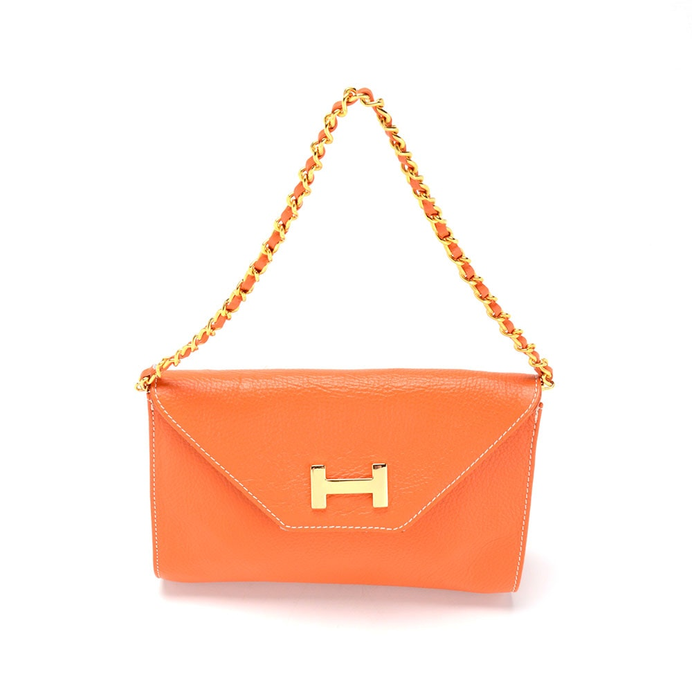 Vera Pelle Orange Leather Envelope Clutch