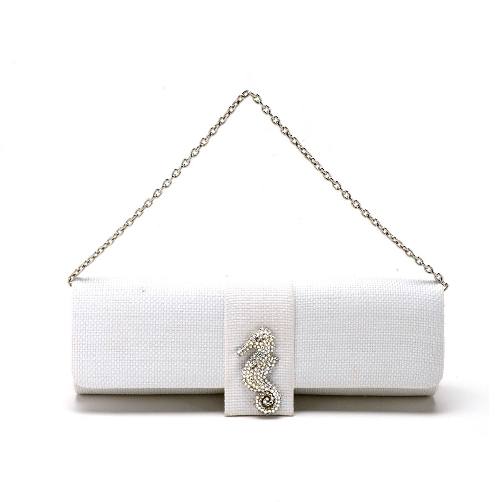 Eliza Gray White Clutch