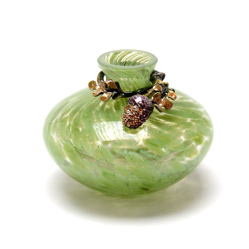 Jay Strongwater Mini Bud Vase with Acorn Wrap
