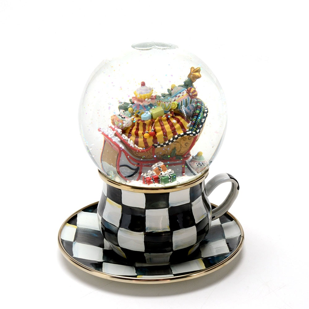 "MacKenzie-Childs ""My Cup of Tea"" Snow Globe and Saucer"