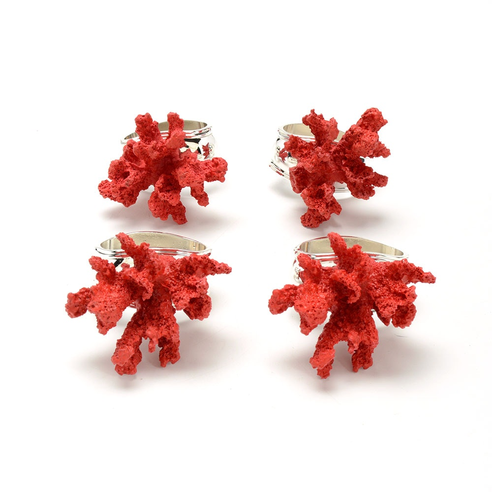 Hans Turnwald Red Coral Napkin Rings