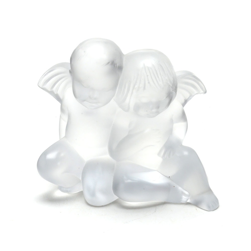 "Lalique ""Twin Angels"" Figurine"