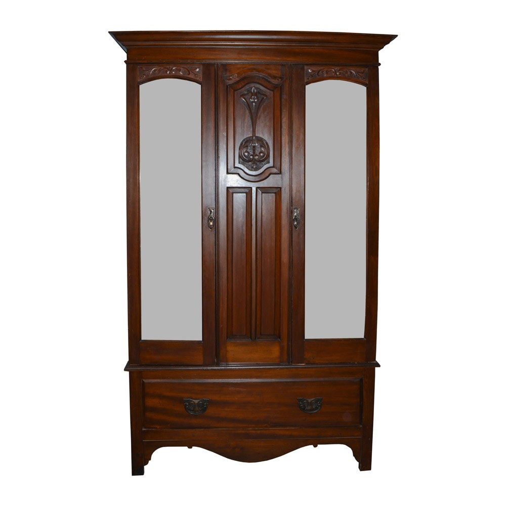 Vintage Carved Mirrored Front Armoire