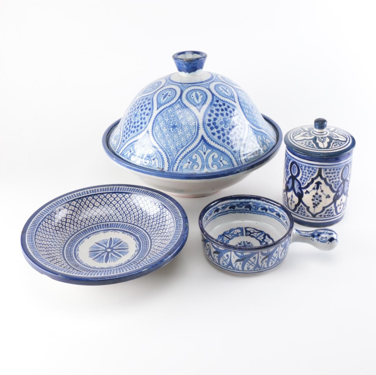 Blue and White Moroccan Tableware Set ...  sc 1 st  EBTH.com & Blue and White Moroccan Tableware Set : EBTH