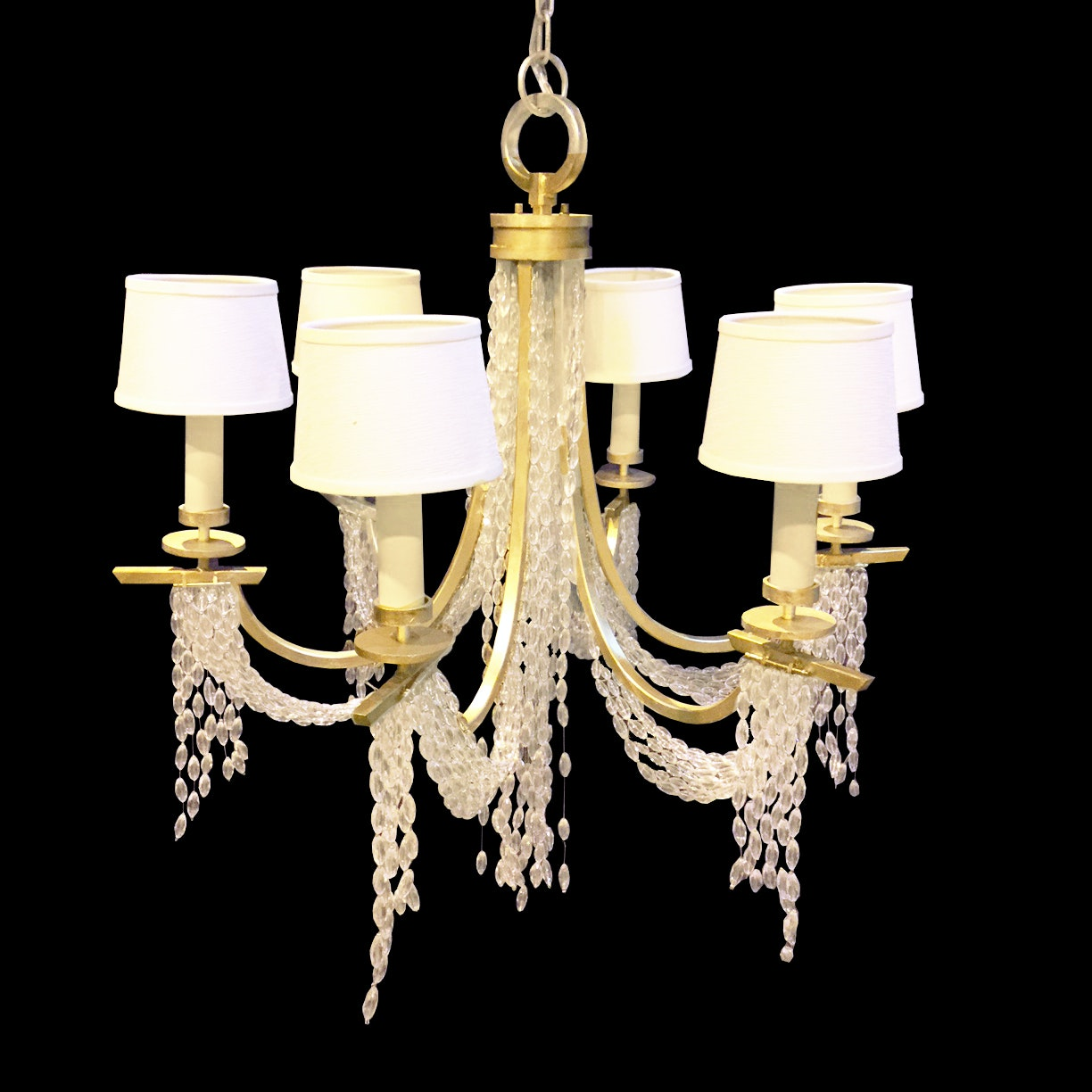 Silver Tone Chandelier with Six Lampshades