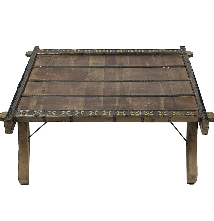 Antique North African Converted Camel Cart Coffee Table : EBTH