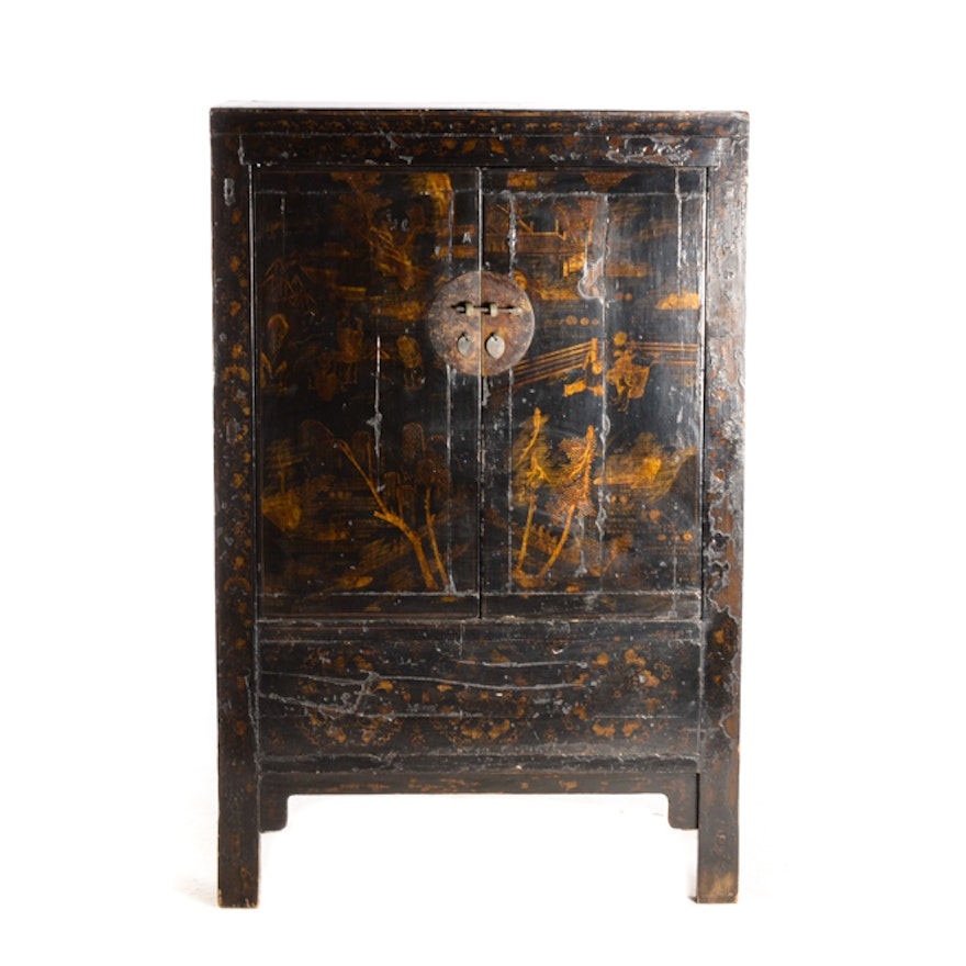 Antique Chinese Black Lacquer Wedding Cabinet ... - Antique Chinese Black Lacquer Wedding Cabinet : EBTH