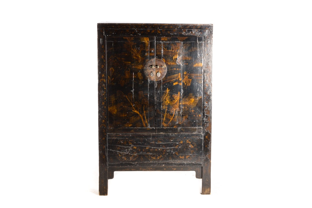 Antique Chinese Black Lacquer Wedding Cabinet ...